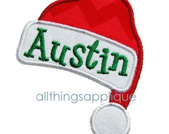 Santa Hat Applique - Christmas Applique Design - 3 Sizes - INSTANT DOWNLOAD