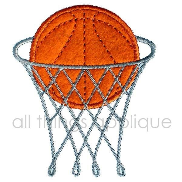Applique design basketball in goal instant download