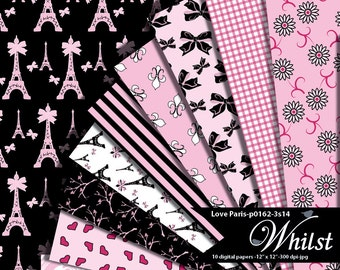 Paris Digital Paper, bow scrapbooking paper, eiffel paper background, digital  flowers, pink black : p0162 & 3s14