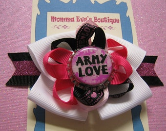 """Momma Eva's -- """"Army Love"""" Pink Camo Sparkling Layered Boutique Hair Bow Design //  5 inch //  Bow Is Ready To SHIP"""