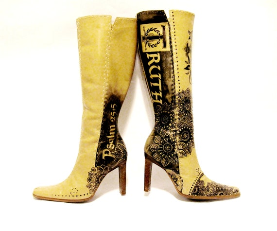 RESERVED FOR ANNETTE Boots hand painted grunge Christian leather Women's Size 8 1/2