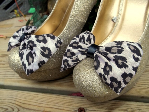 Black taupe cheetah print bow shoe clips Bridal Wedding  Shoe Clips - set of 2 -