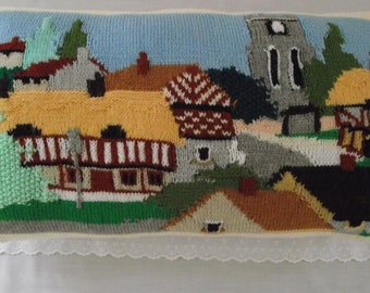 Hand Knitted large ready filled  pillow / cushion English country village scene  26 x 15 inches