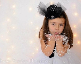 SnowMan Tutu Dress - Mini Top Hat - Fascinator - Winter Dress - Snowman dress for photos - size 3T 4T 5T - Christmas Presents for Girls
