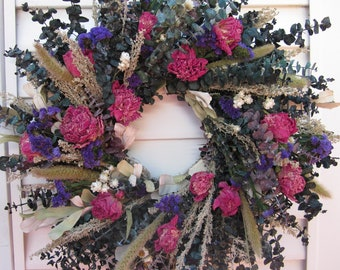 Large Wreath Dried Flower Pink and Purple Flowers