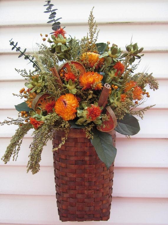 Long Wall Basket Dried Flower Arrangement With Cinnamon Sticks Fall Flowers