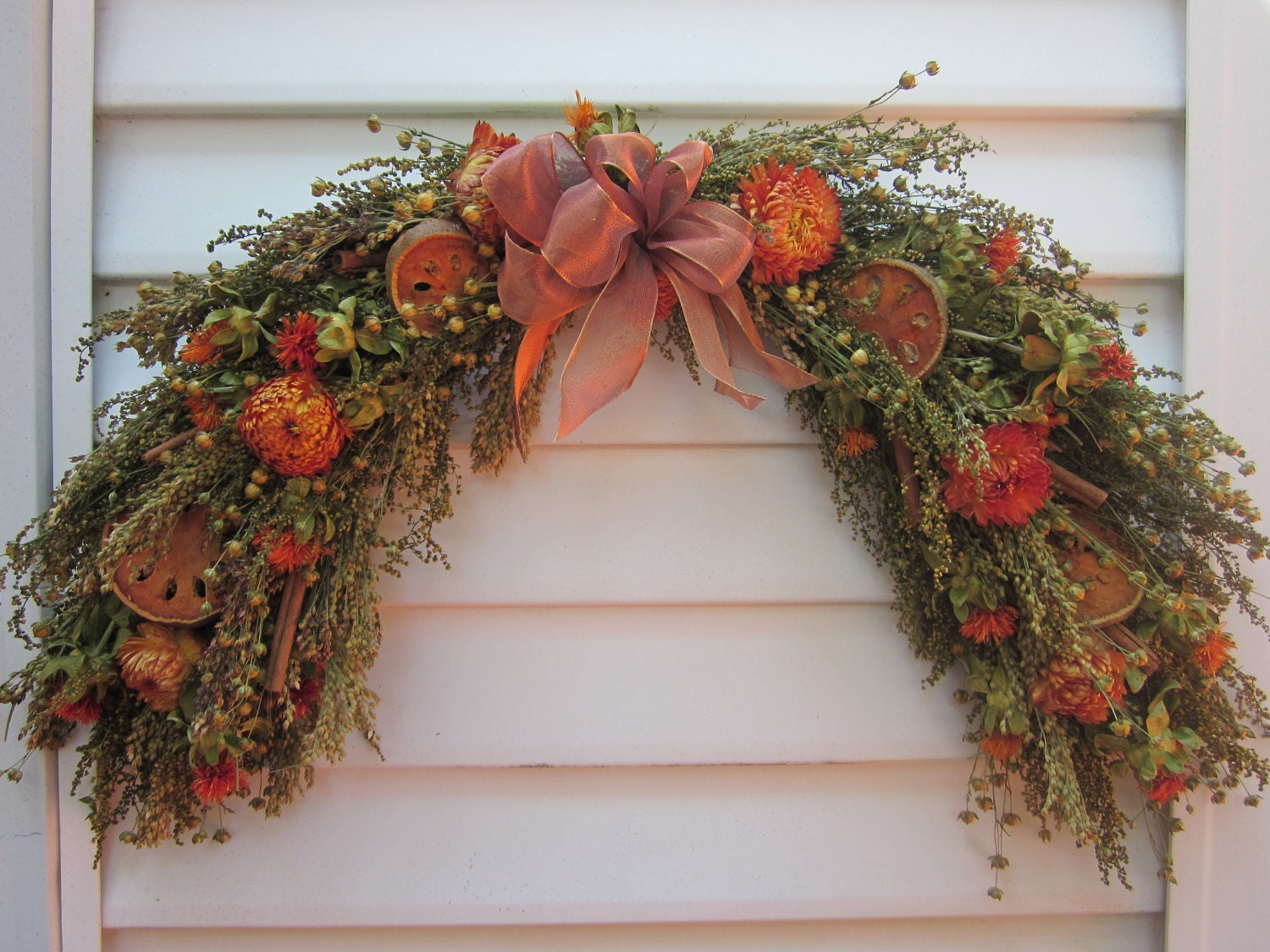 Fall Dried Flower Arch Swag Arrangement Mixed By Notjustweeds