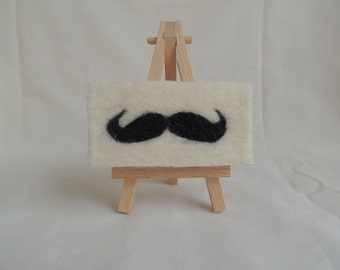 Needle-felted 'Debonair' on Mini-Canvas with easel