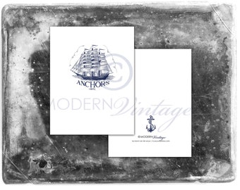 Anchors Away - Set of 12 Naval Notecards