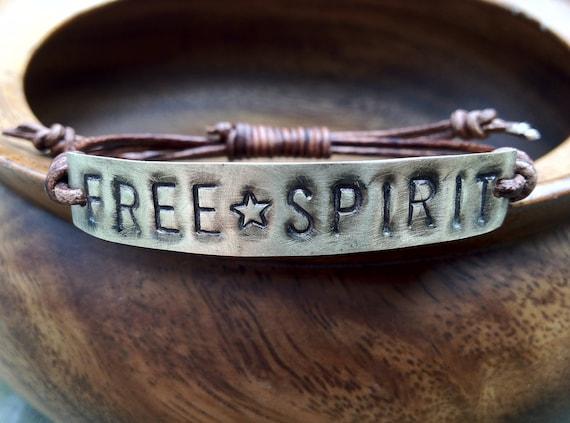 FREE SPIRIT ID Leather Bracelet, Hand Stamped, personalized, freespirit bracelet, boho bohemian, font bracelet, metal tag jewelry,