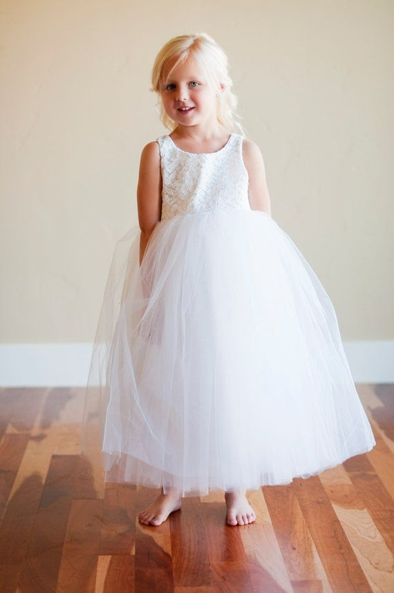 Ivory lace flower girl dress lace first communion dress in