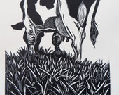 Woodblock print: Grazing