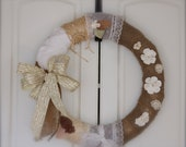 Shabby Chic, french country, Fabric Covered Straw Wreath