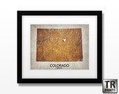 Colorado State Map Art Print - Home Is Where The Heart Is - Original Custom Map Art Print Available in Multiple Size and Color Options