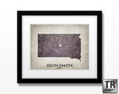South Dakota State Map Print - Home Town Love Heart Map - Original Custom Map Art Print Available in Multiple Size and Color Options