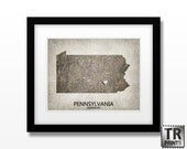 Pennsylvania State Map Art Print - Home Town Love Heart Map - Original Custom Map Art Print Available in Multiple Size and Color Options