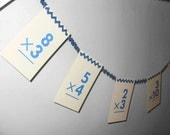 Flash Card Paper Ric Rac Banner in Blue Handmade For Classrooms, Homeschooling, Boy's Rooms...