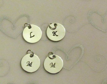 Alphabet Hand Stamped charms -26 in set -  Hand Stamped Disc - Initial Charms - DIY - Monogrammed Charm