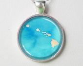Hawaii Map Pendant Necklace - Watercolor Hawaii- Personalize Watercolor Map Necklace