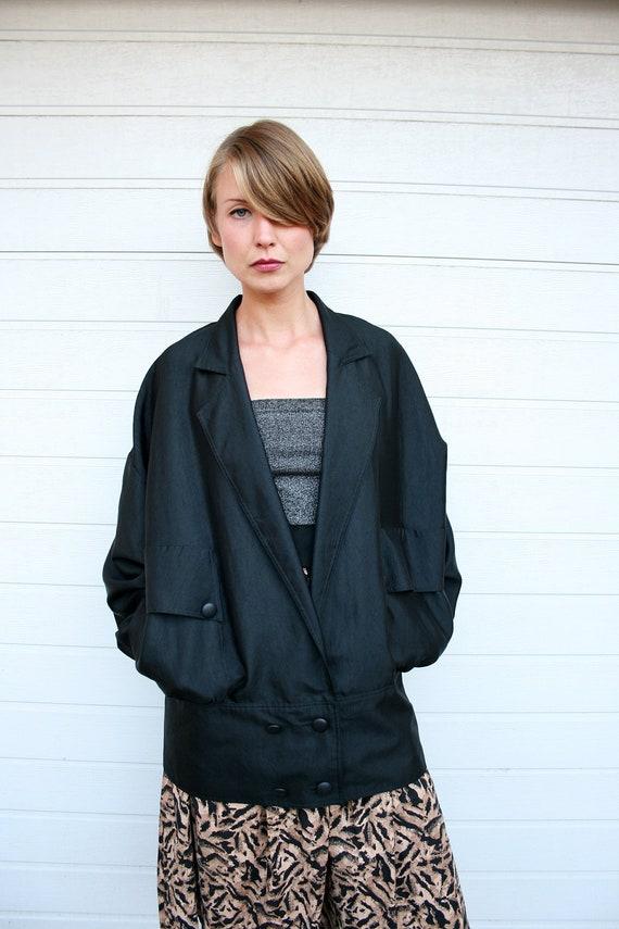 Vintage 80s Avant Garde Silky Black Oversize Batwing Blazer Jacket