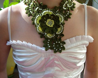Crochet Necklace Beaded Jewelry