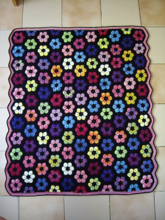 Crochet Granny Square Rug Patterns : Granny Square Crochet Rug...Crochet Colorful Afghan...Knitted