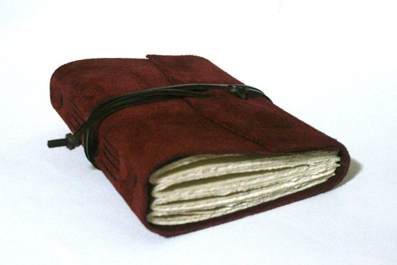 Leather Journal, Burgundy Suede, Hand-Bound 4.5 x 6 Journal by The Orange Windmill on Etsy