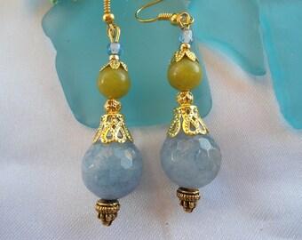 SALE-- AQUAMARINE And JADE Earrings - Elegant Earrings-Bollywood Inspired