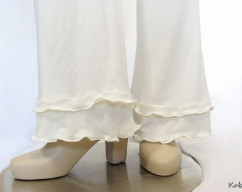 Womens Ruffled Pants-Bootcut Yoga Pants-Dual Ruffled Cuffs-Eco Friendly,Bamboo/Organic Cotton Jersey-Custom Size and Color-XXS to Large