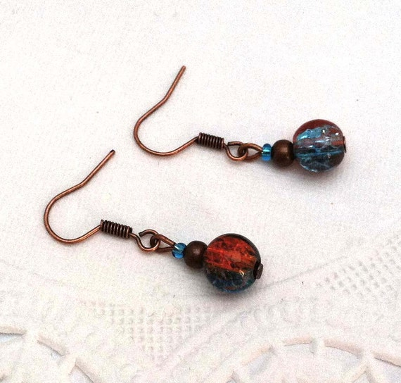 A Touch of Glass - Copper and Teal Green Crackle Glass Dangle Hook Earrings