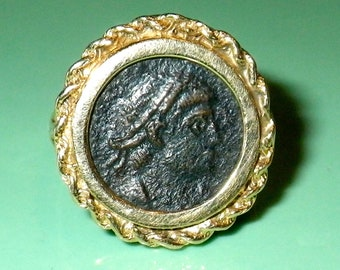 Antique Coin 14K Gold Ring