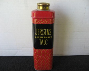 Vintage Jergens After Shave Talc Tin, Talcum powder Tin
