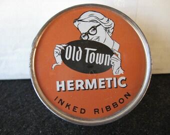 Vintage Old Town Hermetic Typewriter Ribbon Tin Unopened