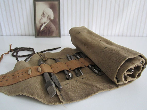 ANTIQUE set of drill bits - 29 pieces in original canvas bag, roll