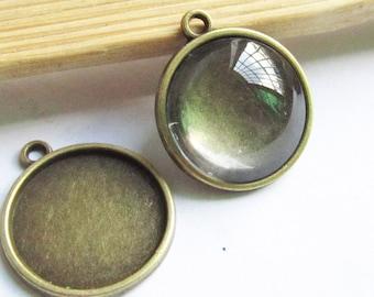 Cabochon Base Settings -25pcs Antique Bronze Bezel Tray Charm Pendants 12mm Free Clear Glass Cabochons F505-5