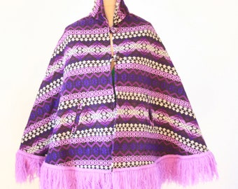 Purple Print Cloak Cape Jacket  - Purple - Ladies Size Small
