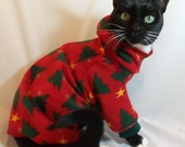 CoolCats Hooded Christmas Tree Fleece Cat Pajamas - RockinDogs