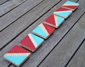 Reclaimed Wood Hand Painted Color Block Magnets (Turquoise and Red)