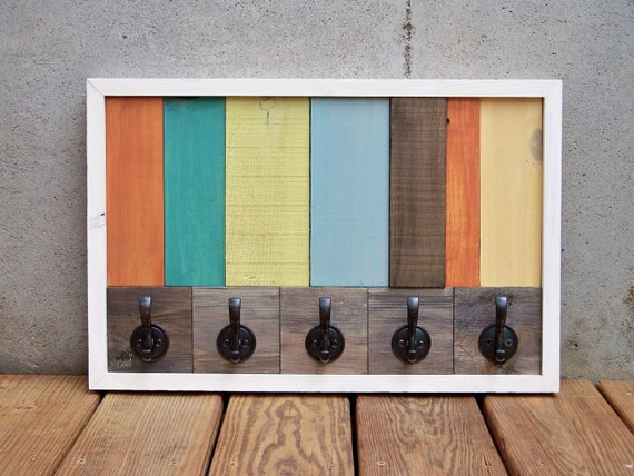 Reclaimed Wood Stripe Coat Rack