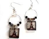 Paris Hoop Earrings,  Eiffel Tower Jewelry, Jet Black Garnet Crystal Earings