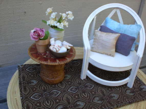 Barbie Doll House COZY CHAIR VIGNETTE Room Furniture & Accessories Bedroom Patio Wicker