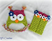 Unique baby gift set - baby girl owl hat and leg warmers - hot pink and green - any baby size so adorable