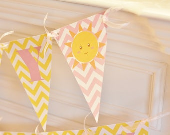 Happy Birthday Pennant Flag Yellow & Pink Chevron You Are My Sunshine Little Miss Sunshine Theme Banner - Ask About Our Party Pack Specials