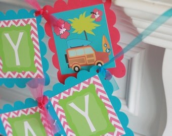 Happy Birthday Vintage Surf Board Hawaii Pink, Turquoise, Green Banner - Toppers, Favor Tags & Door Sign Available - Free Ship Over 65.00