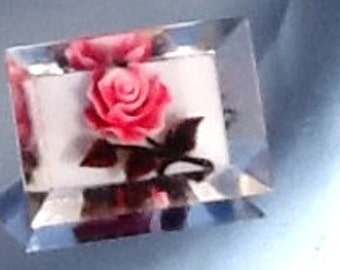 Vintage Lucite Brooch Reversed Carved Pink Rose Pin Rectangle Beveled Mid Century