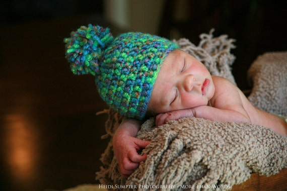 6 to 9months, Hand crocheted baby hat with Pom