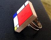 Mondrian ring - adjustable scrabble tile pendant ring