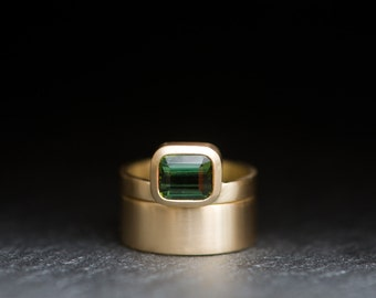 Wedding Set - Tourmaline Wedding Set - Emerald cut Green Tourmaline set in Satin Finished 18k Gold - Made to Order