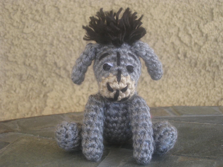 Crochet Amigurumi Eeyore : CROCHET PATTERN Eeyore Miniature Plush Amigurumi Figurine