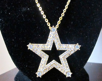 Blinged Out Rhinestone Long Star Necklace